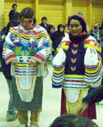 Arviat women wearing dance regalia